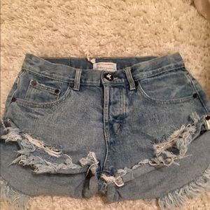 One Teaspoon x Free People Bandits Denim Shorts